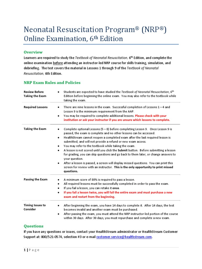 Nrp Exam Instructions Textbook Course Credit