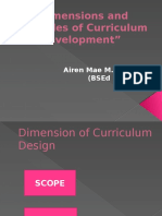 Dimensions and Principles of Curriculum Development