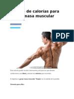 Cálculo de Calorías Para Ganar Masa Muscular