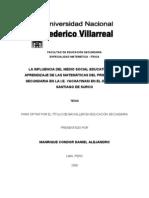LA INFLUENCIA DEL MEDIO SOCIAL EDUCATIVO EN EL APRENDIZAJE DE LAS MATEMÁTICAS
