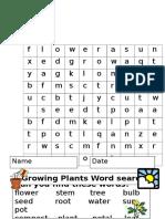 Flower Plant Wordsearch