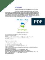 Cara Membuat Random Post Blogspot