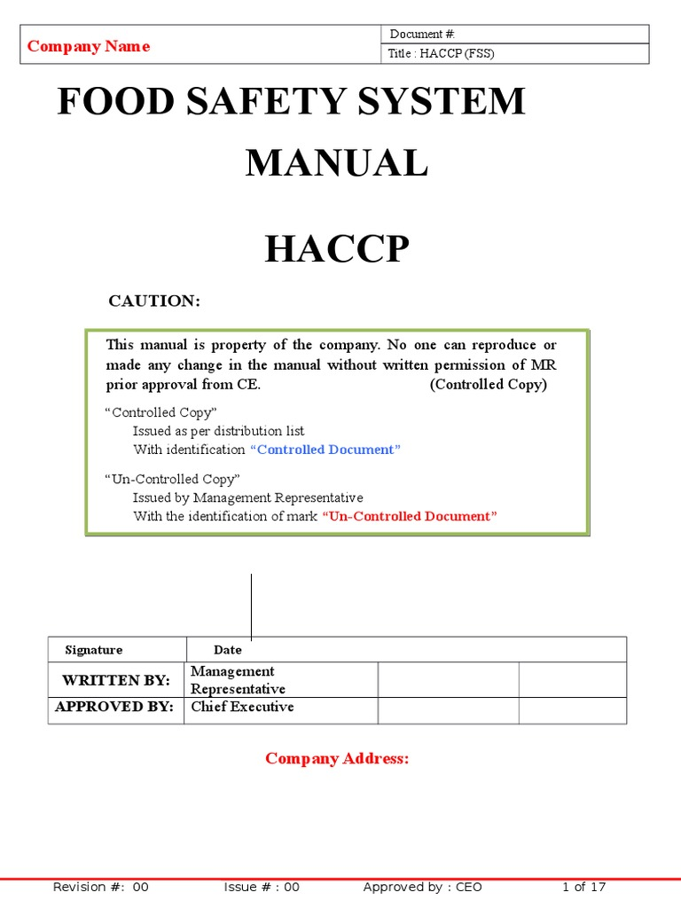 Haccp Manual Format | Hazard Analysis And Critical Control Points | Food  Safety