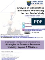 Analysis of Bibliometrics information for selecting the best field of study