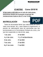 Notas Matriculacion