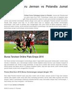 17 Juni Jerman vs PPrediksi Terbaru Jerman vs Polandia Jumat 17 Juni 2016olandia