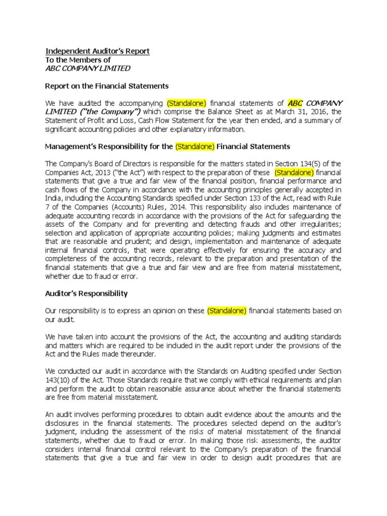 New Audit Report Format Including CARO 2016 (1) | Auditoru0027s Report | Audit  Auditing Report Format