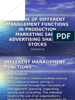 Outline of Different Management Functions in Production Marketing