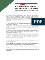 Modificaciones de La Ley de Seguridad y Salud en El Trabajo