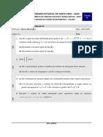 Prova de Cálculo IV - UESC