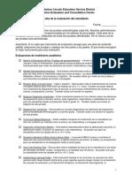 Student Assessment List Spanish
