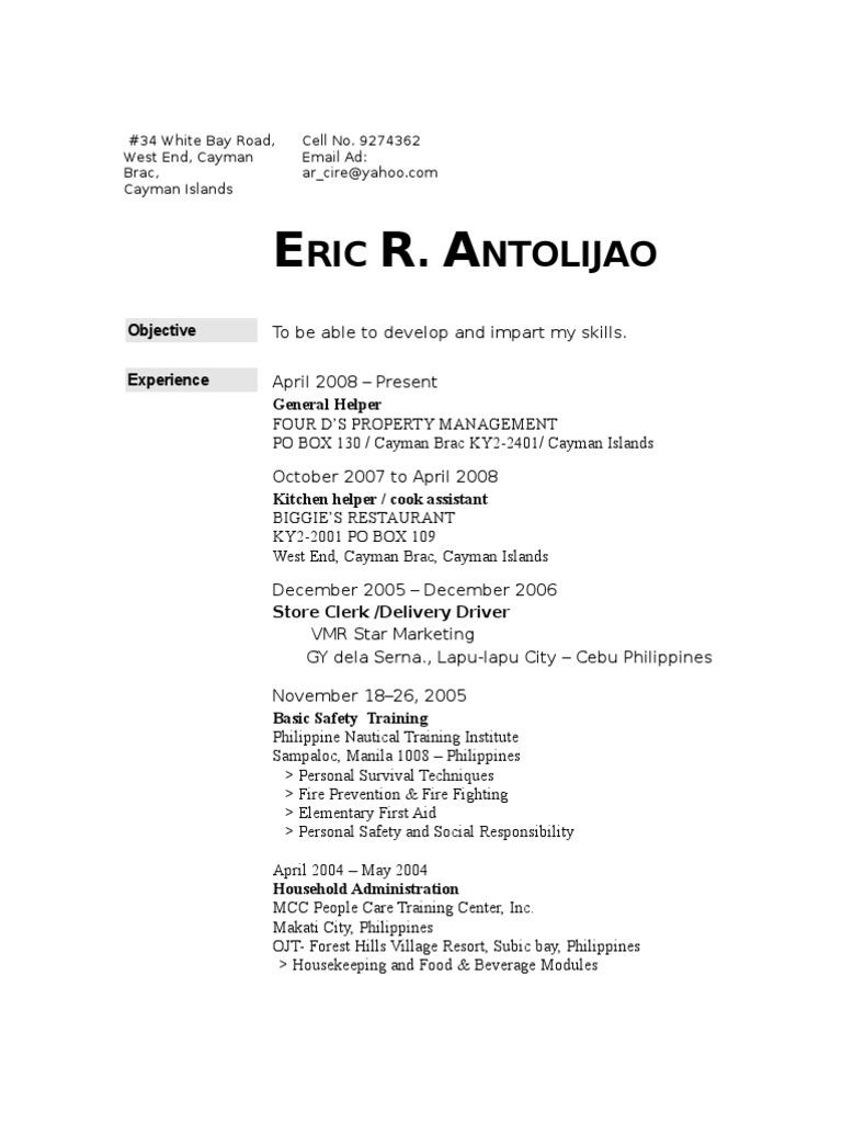 CAREGIVER RESUME | Cebu | Philippines