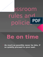 Classroom Rules and Policies