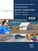 Final Hearing Report, Back River Gold Project