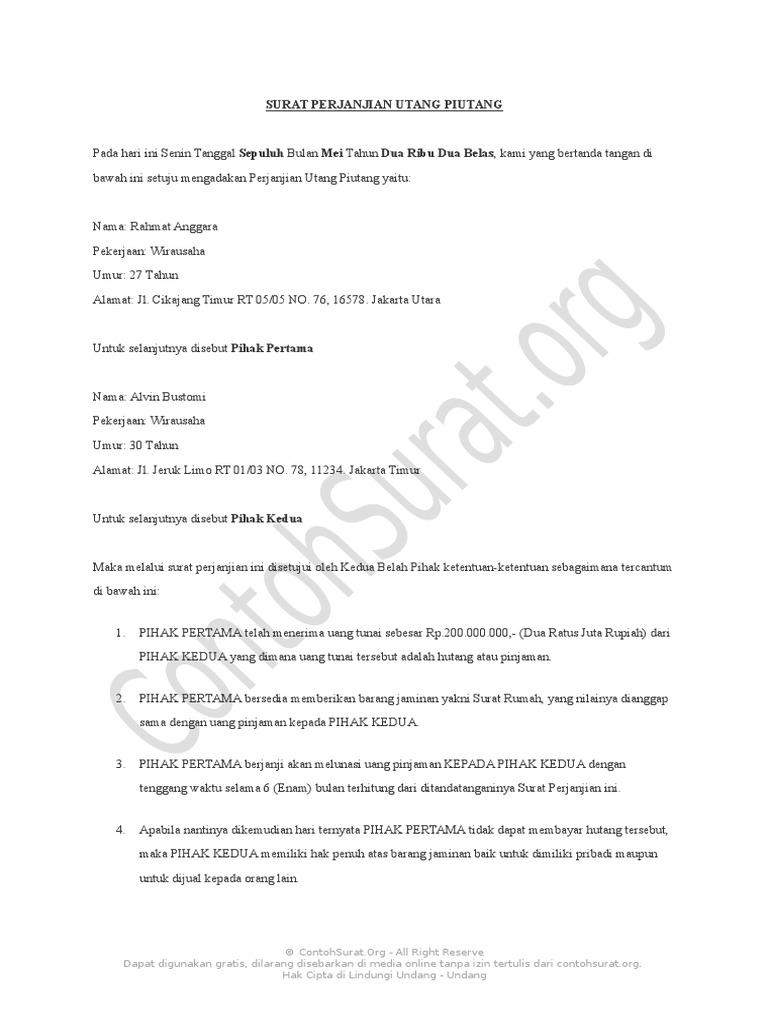 Contohsuratorg Contoh Surat Perjanjian Hutang 01