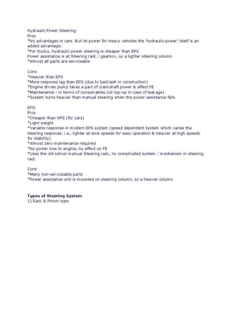 avantaje dezavantaje | Steering | Transmission (Mechanics)
