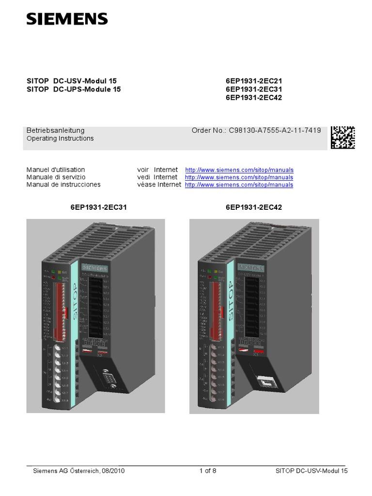 Sitop Dc Ups Umax Circuit Diagram
