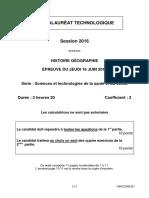 Sujets baccalauréat histoire-géographie ST2S