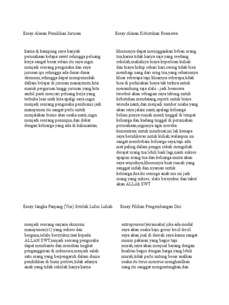 essay alasan kebutuhan beasiswa