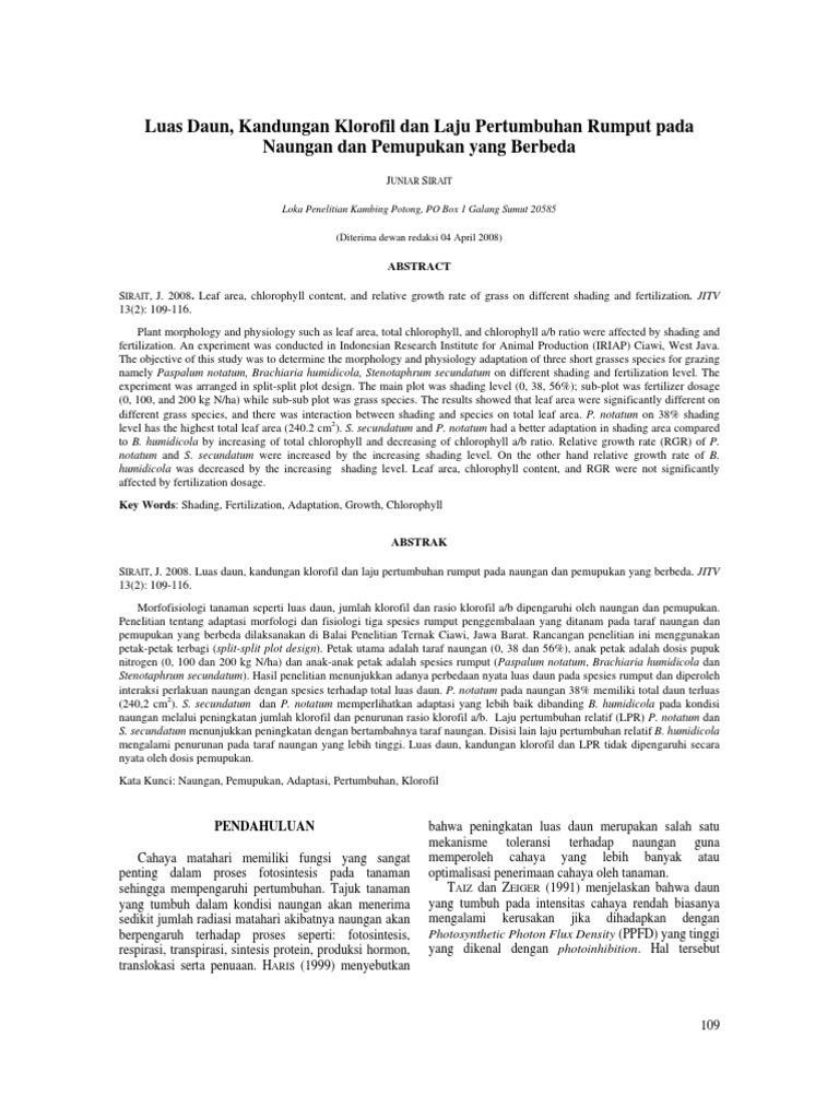 Luas Daun Kandungan Klorofil