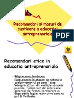 Recomandari Si Masuri de Sustinere a Educatiei Antreprenoriale