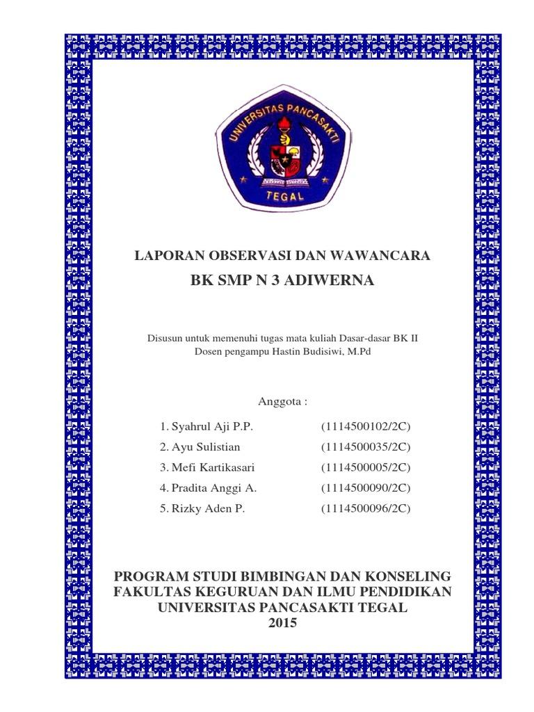 Laporan Observasi Dan Wawancara Bk Smp N 3 Adiwerna