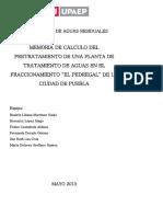 """Memoria de Cálculo Del Pretratamiento de Una Planta de Tratamiento de Aguas en El Fraccionamiento """"El Pedregal"""" de La Ciudad de Puebla"""