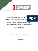 Propuesta de Implantación Del Nivel 2 Del Sistema de Seguridad, Salud y Protección Ambiental – SSPA- en El Complejo Petroquímico Independencia