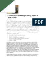 Transferencia de Refrigerante y Daños Al Compresor Danfoss