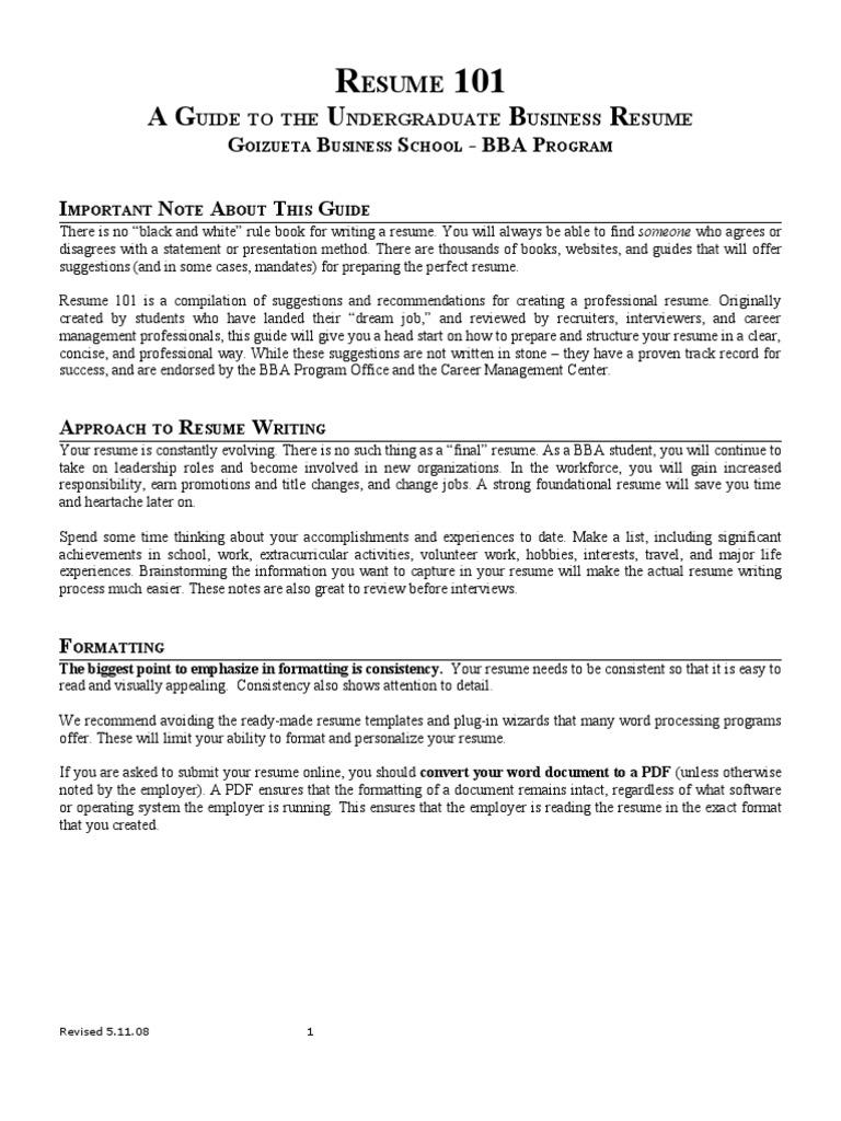 BBA Resume Guide | Résumé | Sat
