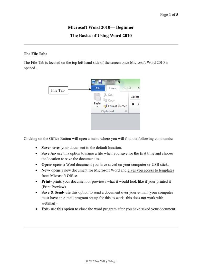 Basics Of Microsoft Word 2010 Handoutpdf Microsoft Word Tab Gui