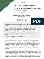 Luis Guzman Diaz v. Secretary of Health, Education and Welfare, 613 F.2d 1194, 1st Cir. (1980)