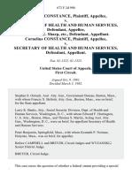 Cornelius Constance v. Secretary of Health and Human Services, Alexander E. Sharp, Etc., Cornelius Constance v. Secretary of Health and Human Services, 672 F.2d 990, 1st Cir. (1982)