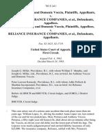 Anthony Voccio and Domenic Voccio v. Reliance Insurance Companies, Anthony Voccio and Domenic Voccio v. Reliance Insurance Companies, 703 F.2d 1, 1st Cir. (1983)