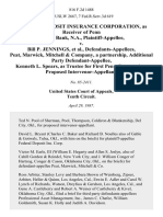 Federal Deposit Insurance Corporation, as Receiver of Penn Square Bank, N.A. v. Bill P. Jennings, Peat, Marwick, Mitchell & Company, a Partnership, Additional Party Kenneth L. Spears, as Trustee for First Penn Corporation, Proposed Intervenor-Appellant, 816 F.2d 1488, 1st Cir. (1987)
