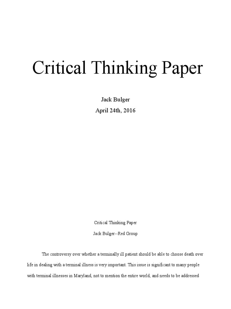 Critical thinking application paper ethics