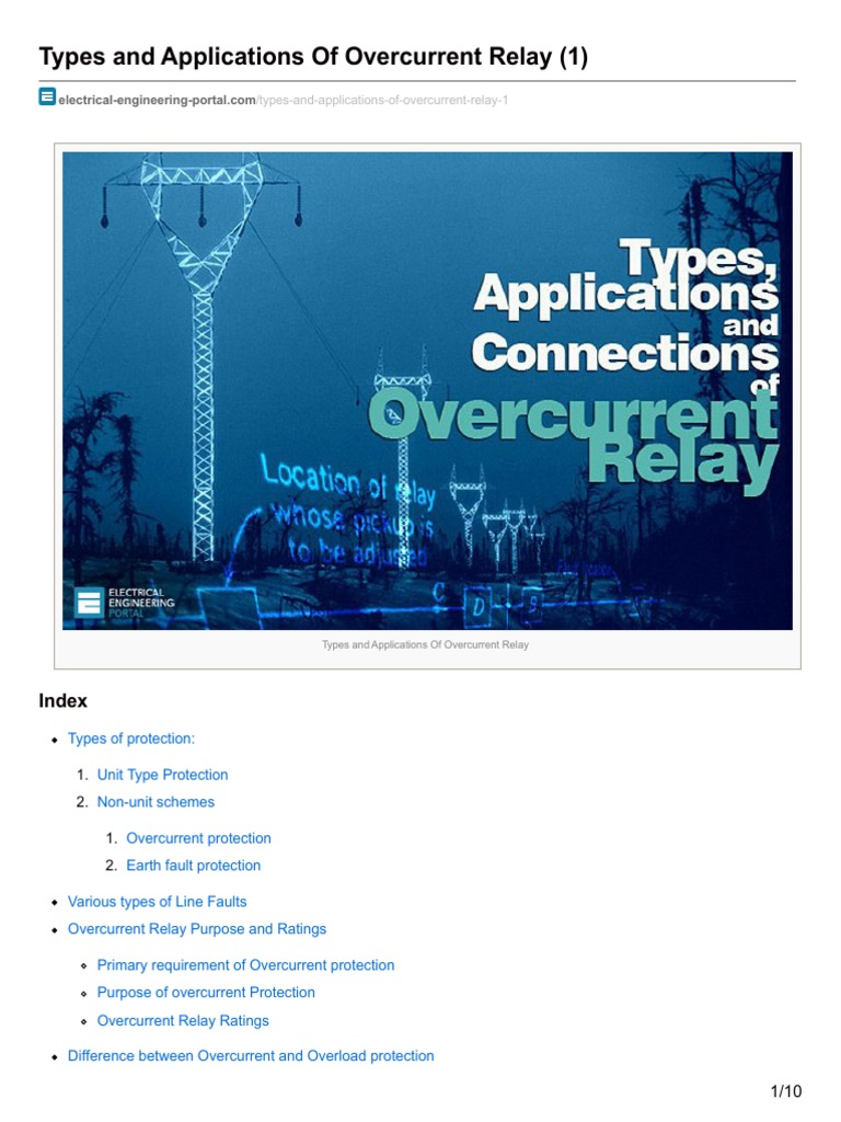 Electrical Engineering Portalcom Types And Applications Of Basic Operation Idmt Relay Overcurrent 1 Electric Power System
