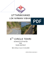 Uttarakhand PWD Schedule of Rate