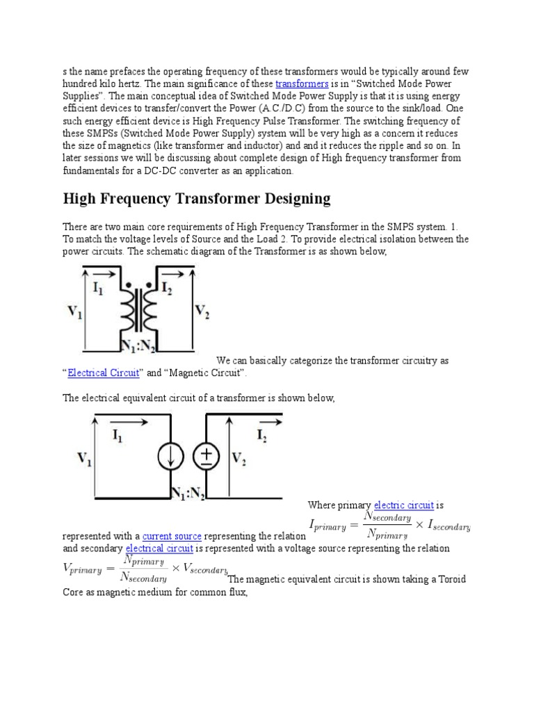 Pulse Transformer Design Power Supply Magnetic Circuit Of An Inductor With Ungapped Core