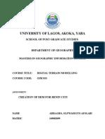 Digital Terrain Modelling (Benin City)