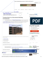 Training Report on Residential Building Construction - FREE FINAL YEAR PROJECT's