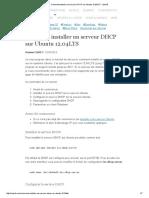 Comment Installer Un Serveur DHCP Sur Ubuntu 12