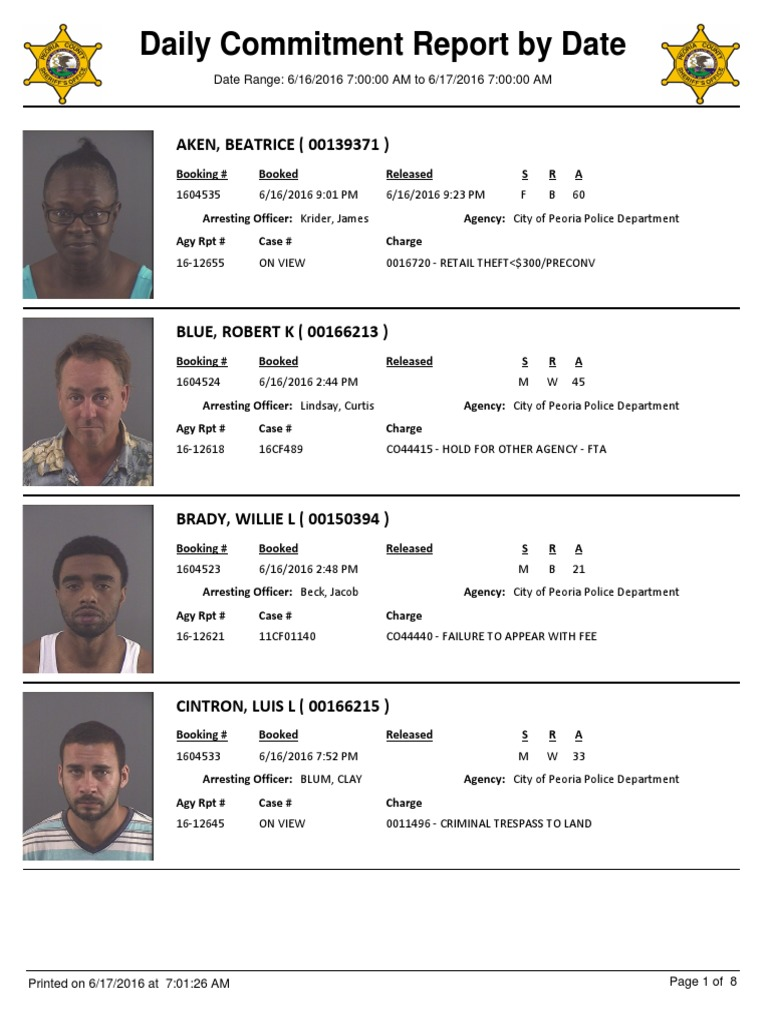 Peoria County Booking Sheet 6 17 2016 Crime Justice Crimes
