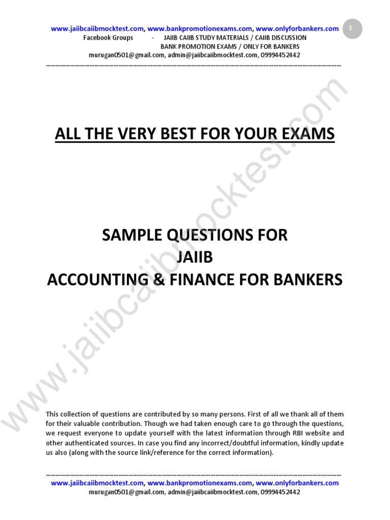 Workbooks jaiib workbook : JAIIB AFB Sample Questions by Murugan for Nov 2015 | Debits And ...