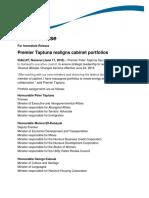 2016-06 (Premier) NR08 Premier Taptuna Realigns Cabinet Portfolios-EnG