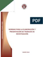 Normas Para La Elaboración y Presentación de Trabajos de Investigación