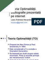 Teoria Optimalitatii. Bibliografie Prezentata Pe Internet