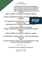 First American Bank of Virginia v. Ronald O. Kindschi, & Third-Party v. Futuresoft Synergies, Inc., Kenneth D. Rardin Ganesa Group International, Inc., Third-Party and John W. Freal, Third-Party Ronald O. Kindschi, & Third-Party and First American Bank of Virginia v. Futuresoft Synergies, Inc., Third-Party and Kenneth D. Rardin Ganesa Group International, Inc. John W. Freal, Third- Party, 852 F.2d 565, 1st Cir. (1988)
