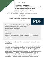 William Marshall v. City of Boston, 915 F.2d 1557, 1st Cir. (1990)
