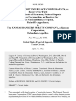 Federal Deposit Insurance Corporation, as Receiver for First National Bank of Hammon Federal Deposit Insurance Corporation, as Receiver for First National Bank of Tipton v. The Kansas Bankers Surety Company, a Kansas Corporation, 963 F.2d 289, 1st Cir. (1992)